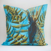 Image of DEEP ROOTS BLUE pillow cover: Vintage Chart over Botanical