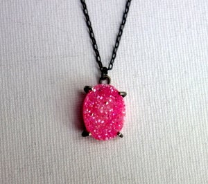Image of Pink and Black Druzy Pendant