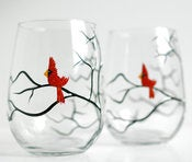 Image of Red Cardinal Stemless Wine Glasses