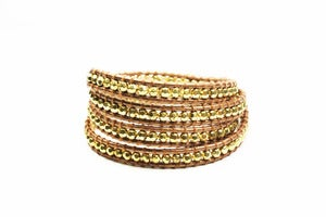 Image of Filament Metallic Leather Wrap Bracelet