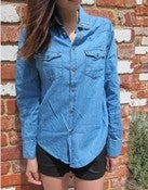 Image of Studded Collar Denim Shirt