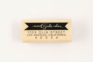 Image of CUSTOM BANNER CALLIGRAPHY ADDRESS STAMP