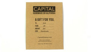 Gift Certificate Capital Eyewear Sunglasses Handmade in California