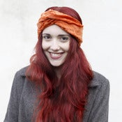 Image of Velvet Turban Headband - Rust