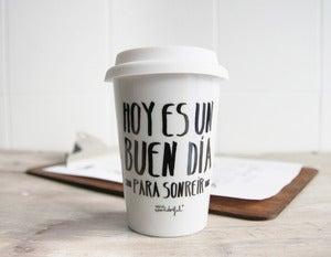 """Image of Taza take away """"Hoy es un buen día para sonreír"""""""