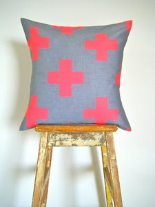 Image of Organic Cotton Cushion Cover - Plus One - Red and Grey