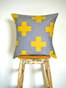 Image of Organic Cotton Cushion Cover - Plus One - Yellow and Grey