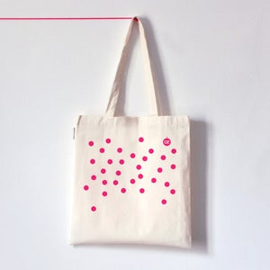 Image of DOT DOT DOT . Tote bag  pois rose fluo