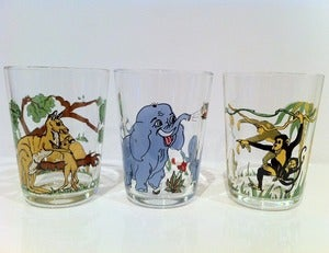 Image of VINTAGE 6 LUMINARC ZOO ANIMAL GLASSES