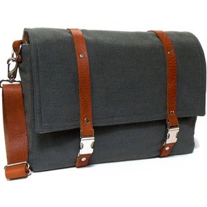 "Image of Larger 13"" Laptop messenger bag in gray herringbone and brown leather"