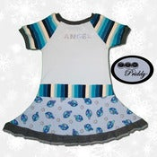 Image of Angel dress with Dreidel Hanukkah fabric - Size 3/4