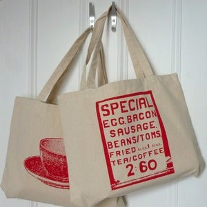 Image of Saturday Morning screenprint shopper bag - red