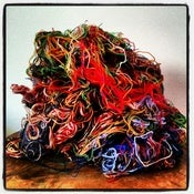 Image of RARE Wool Thread Scrap for Carding - 4 ounces