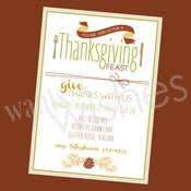Image of Glitzy Thanksgiving BLANK & Custom Dinner Invitations