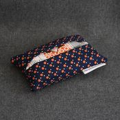 Image of travel tissue case - navy with orange dots