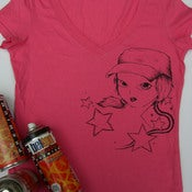 Image of pink v-neck girls lil tshirt