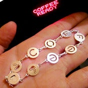 Image of Coffee Bracelet for coffee lovers - Handmade Sterling Silver Bracelet