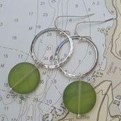 Image of Hammered Hoop Sea Glass Earrings in Silver