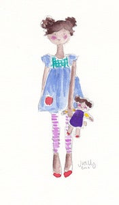 Image of GIRL & HER DOLL (POM POMS) - ORIGINAL WATERCOLOR