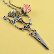 Image of Silver Scissors and Sewing Machine Charm Cluster Pendant Necklace with Pink Flower and Pearl