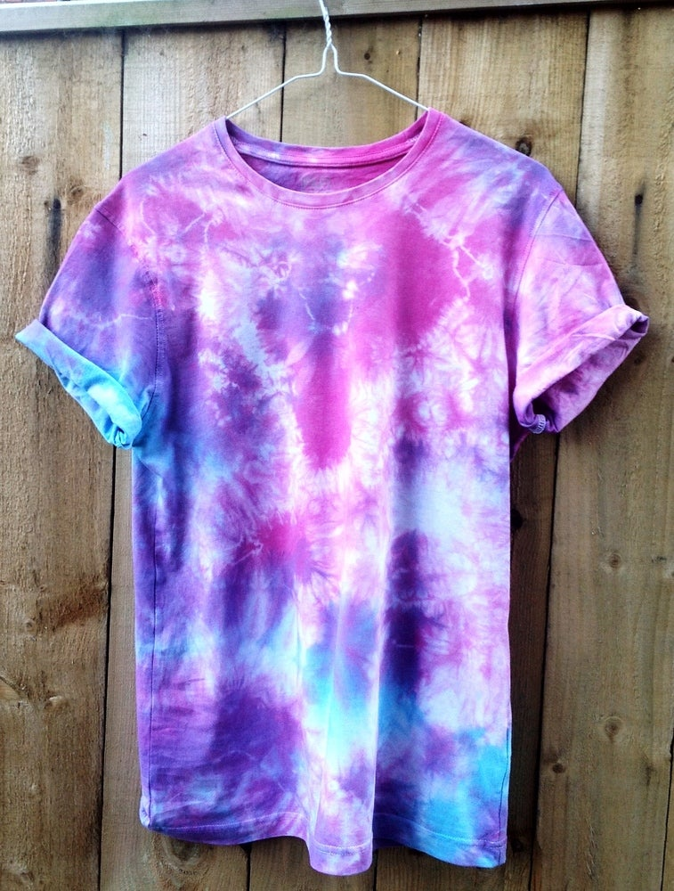 wonderland apparel blue purple and pink tie dye short