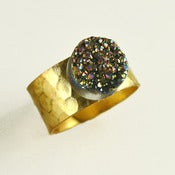 Image of Hammered Brass Druzy Quartz Crystal Ring 