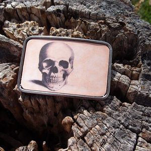 Image of Leather Belt Buckle - Skull