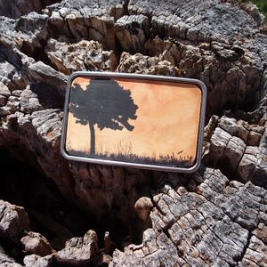 Image of Leather Belt Buckle - Silhouette Sunset