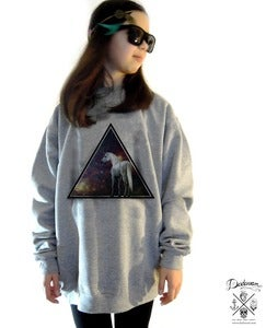 Image of Sweatshirt femme oversized Unicorn across the Universe