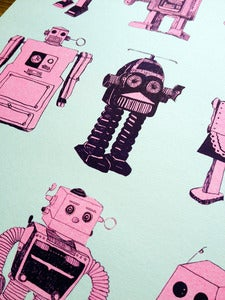 Image of ROBOTS - A4 2 COLOUR RISOGRAPH PRINT