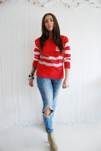 Image of Red nautical badge striped sailor jumper