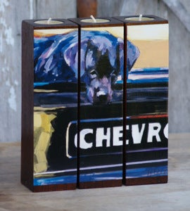 Image of CHEVRO Tealight Tryptych Set, black lab & chevy truck