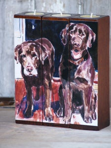 Image of PORCHLIGHT Chocolate Lab Tealight Triptych