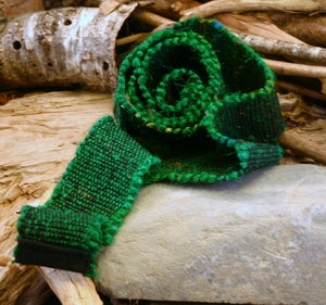 Image of Woven Reclaimed Sari Silk Strap: Green
