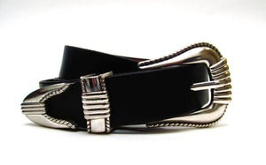 Image of Black Leather Belt for Men with Three Piece Buckle Made in USA