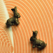 Image of Sterling silver bunny studs 