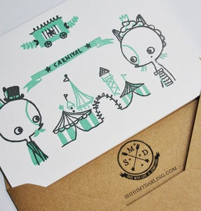 "Image of ""CARNIVAL"" letterpress card set 