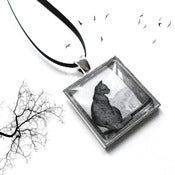 Image of Silver Cat at the Window Pendant