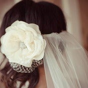 Image of Ivory Bridal Silk Organza Flower with Swarovski Crystal Accent