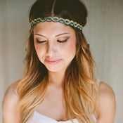 Image of Bohemian Headband Aqua Navy Blue and Green Braided Headband Hair Accessory Beaded