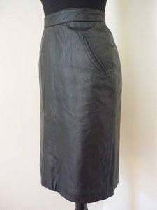 Image of 80s black leather skirt w/ pockets