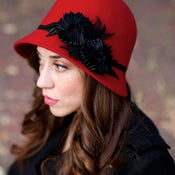 Image of Red Cloche With Black Floral Ribbon Accent