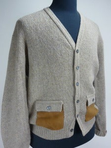 Image of 50s wool cardigan w/ elbow patches