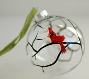 Image of Christmas Cardinal Glass Ornament