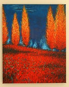 Image of Flaming Trees Tuscan Landscape-16x20 Fine Art Giclee Canvas Print