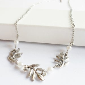 Image of Grace Leaf Necklace (silver & white)