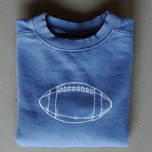 Image of Football Crewneck Sweatshirt in Navy