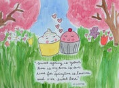 Image of Original Artwork: 8x10 inch Watercolor Cupcake Love ee cummings