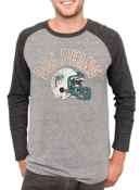 Image of NFL Miami Dolphins Vintage Inspired Long Sleeve Raglan