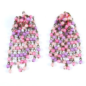 Image of Vintage 1950s Pink Long Drop Glass Bead Clip On Earrings